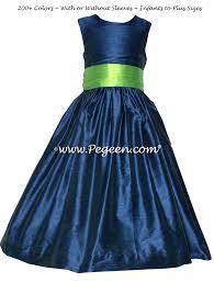 marine blue and bright green jr bridesmaids dresses pegeen