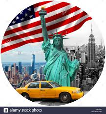 Big American Flags New York City With Liberty Statue American Flag And Symbols Of