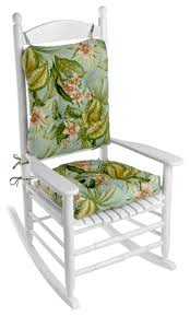 Rocking Chair With Cushions Porch Outdoor Indoor Floral Jamaica Mist Rocking Chair Cushion Set