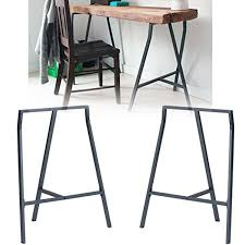 set of 2 industrial look durable solid steel crosscut trestle legs
