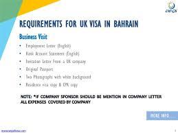 Employment Letter For Visa Uk bahrain uk business visa requirements