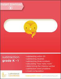 grades k 1 subtraction printable workbook u2013 luminous learning