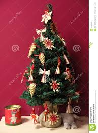 raffia decorated small tree royalty free