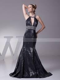 keyhole neckline satin evening dress with beading