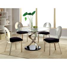 Round Glass Dining Table Set Copper Metal And Glass Round Kitchen Dinette Dining Table Set