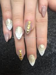 social build almond acrylics with gold glitter fade with white