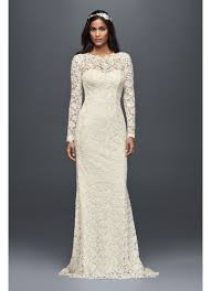 lace wedding dresses with sleeves sleeve lace sheath wedding dress david s bridal