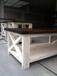 coffee tables simple white rectangle wooden rustic x coffee