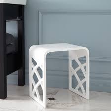 Bath Shower Stool Luyten Resin Bath Stool White Matte Finish Shower Seats