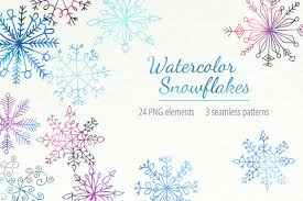 watercolor snowflakes photos graphics fonts themes templates