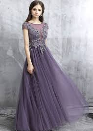 purple tulle gray purple tulle see through senior prom dress with
