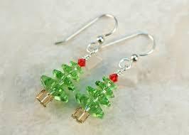 green tree earrings christmas swarovski green tree earrings