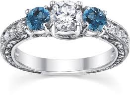Blue Wedding Rings by 1 Carat White And Blue Round Cut Vintage Style Diamond Engagement