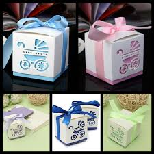 10 pcs laser cut carriage candy boxes for baby shower baptism
