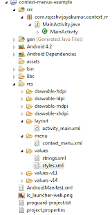 android context android practices context menus exle in android