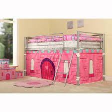 single bed for girls metal loft bed for girls with pink tent and ladder decofurnish