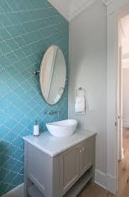 Blue Glass Tile Bathroom Gray Single Washstand With Blue Glass Tile Backsplash