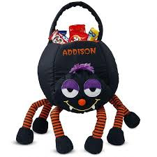 personalized trick or treat bags spider treat basket lillian vernon