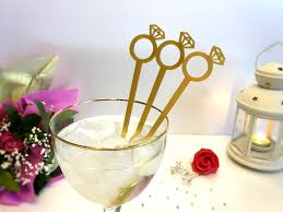 diamond ring cocktail swizzle stick bridal shower decoration stir