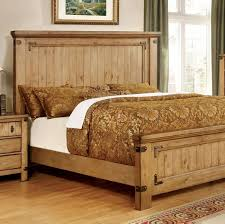 Country Style Beds | pioneer country style burnished pine finish queen size bed