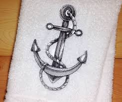 Nautical Bathroom Decor by Details About Anchor Towel Embroidered Hand U0026 Bath Towels