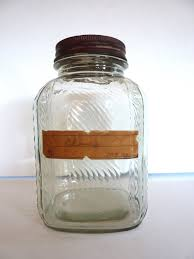 Clear Glass Canisters For Kitchen Vintage Ribbed Country Store Display Jar