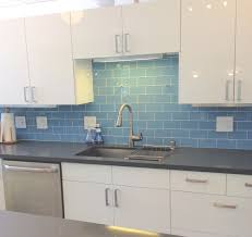 kitchen interior modern style kitchen backsplash glass tile blue