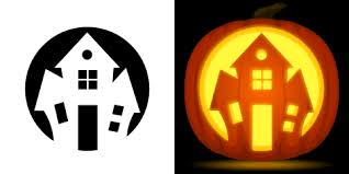 Free Scary Halloween Pumpkin Stencils - haunted house pumpkin carving stencil free pdf pattern to