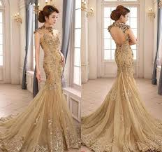 luxury mermaid wedding dresses luxury gold mermaid wedding dress high neck sheer illusion la