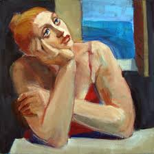figurative painting of woman by sea open window female