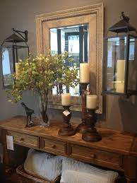 Entry Console Table With Mirror I Love The Hanging Lanterns Flanking The Mirror Rustic Bathroom
