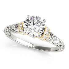 yellow gold engagement ring white and yellow gold antique style diamond engagement ring