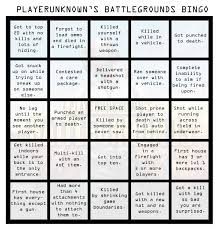 pubg is a bad game i made a pubg bingo sheet pubattlegrounds