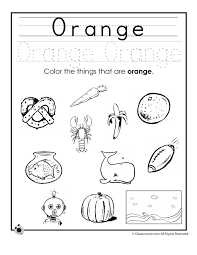 learning colors worksheets for preschoolers color orange worksheet