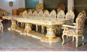 Luxury Dining - royal palace 435cm silver gold gilded carved long big luxury