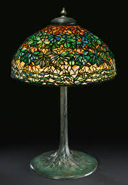 stained glass l bases tiffany studios a rare maple leaf table lamp with a large tree