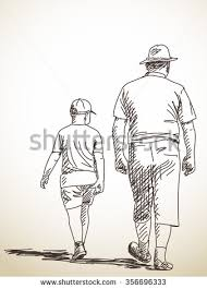 royalty free sketch of woman walking with shopping u2026 490510741