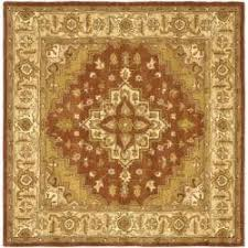 Square Wool Rug Safavieh Handmade Heritage Timeless Traditional Rust Beige Wool