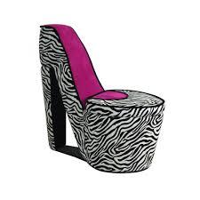 ore international zebra storage slipper chair hb4258r