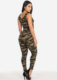 lace up jumpsuit camo print lace up neck bodycon jumpsuit