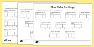 place value challenge activity sheet place value place value
