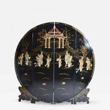 Chinese Secretary Desk by A Chinese Round Black Lacquer Screen