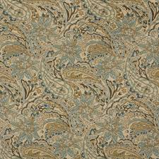 tan beige brown and teal paisley woven outdoor upholstery fabric