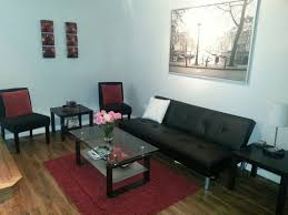 Red And Black Furniture For Living Room by Modern Condo Red Black And White Living Room Small Spaces