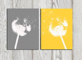 Grey And Yellow Home Decor Dandelion Poster Print Yellow Grey Home Decor Dandelion Silhouette