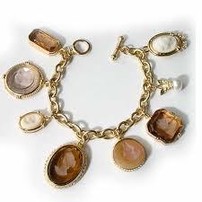 gold portia intaglio charm bracelet design for