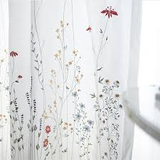 Embroidered Sheer Curtains Botanical Embroidered Sheer Curtains