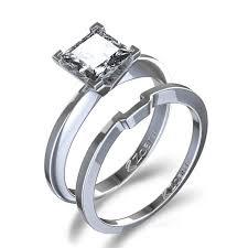 princess cut wedding set 4 ctw princess cut solitaire diamond wedding set in 14k white gold