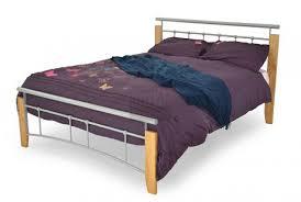 Beech Bed Frame Metal Beds Kentucky 4ft 120cm Small Silver And Beech Bed
