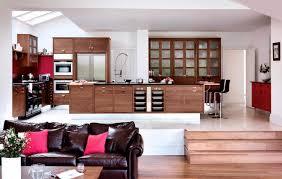 contemporary kitchen wood veneer island walnut u0026 silver